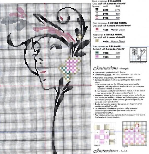 Схема вышивки крестом люди монохром 3