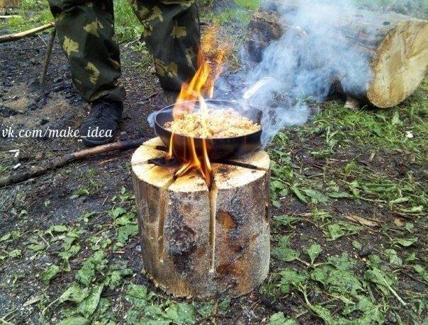 """Делаем своими руками """"финскую свечу"""". Очень удобно в лесу, сверху можно поставить чайник или кастрюлю."""