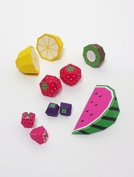 Бумажные фрукты с выкройками — распечатай вырежи и склей