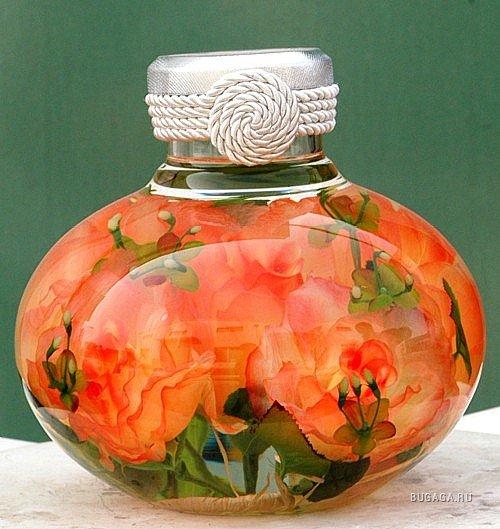 Цветочные декоративные бутылочки