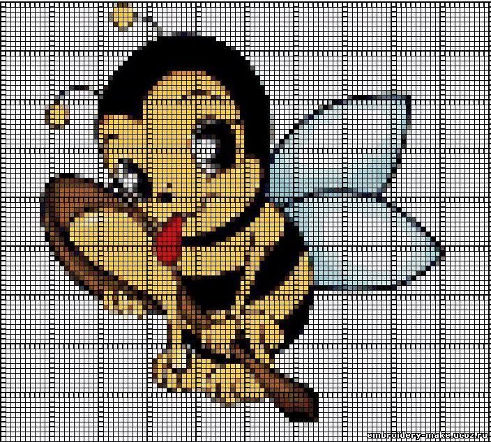 крестом схема пчелки вышивка