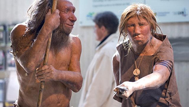 Реконструкция первобытных мужчины и женины в музее неандертальцев в Меттмане