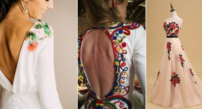 платья из органзы с вышивкой