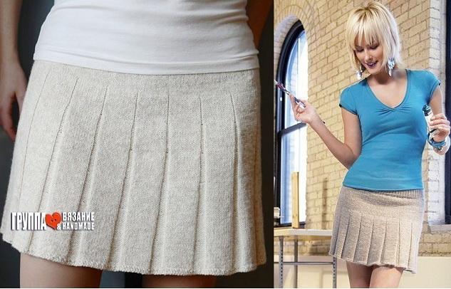 Мини-юбка со складками спица…