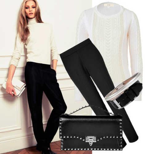 белый свитер и черные брюки