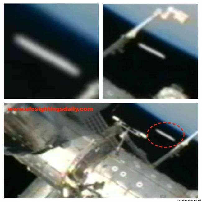 Огромный сигарообразный объект заснят камерой МКС