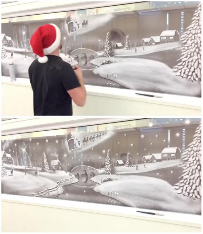 Он украшает окна детской больницы невероятными рисунками из снега. Настоящие шедевры!
