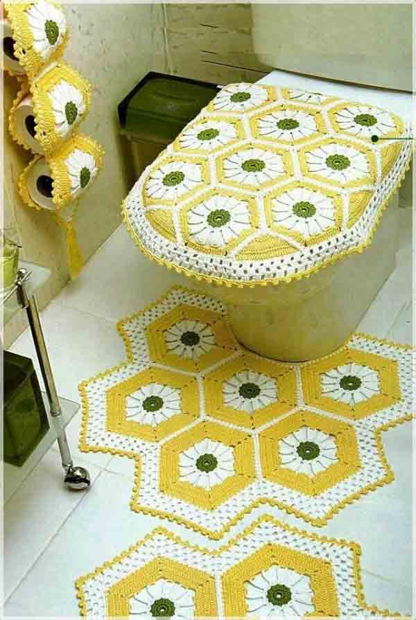 Вязанные коврики в ванную крючком