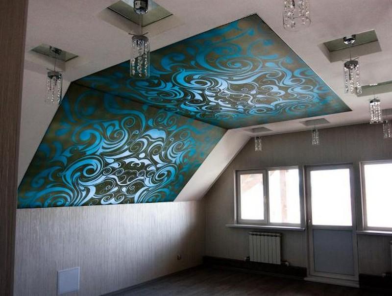 натяжной потолок на стену фото