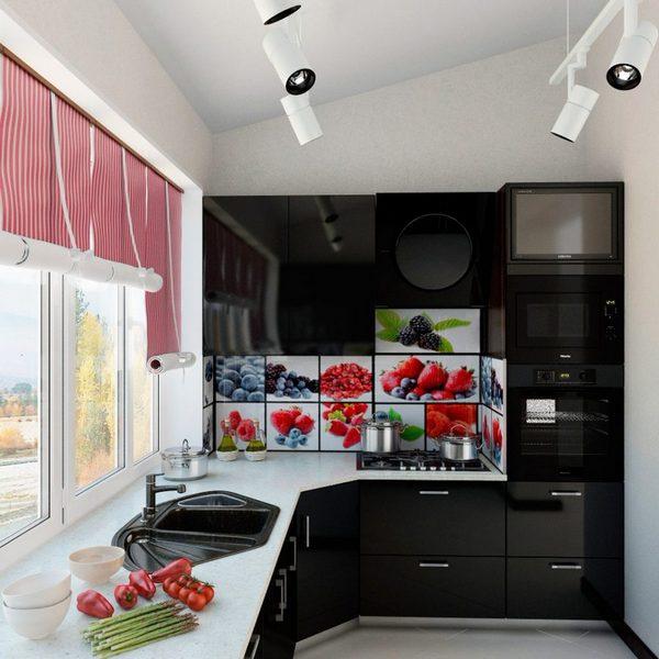 кухня на балконе в квартире студии фото