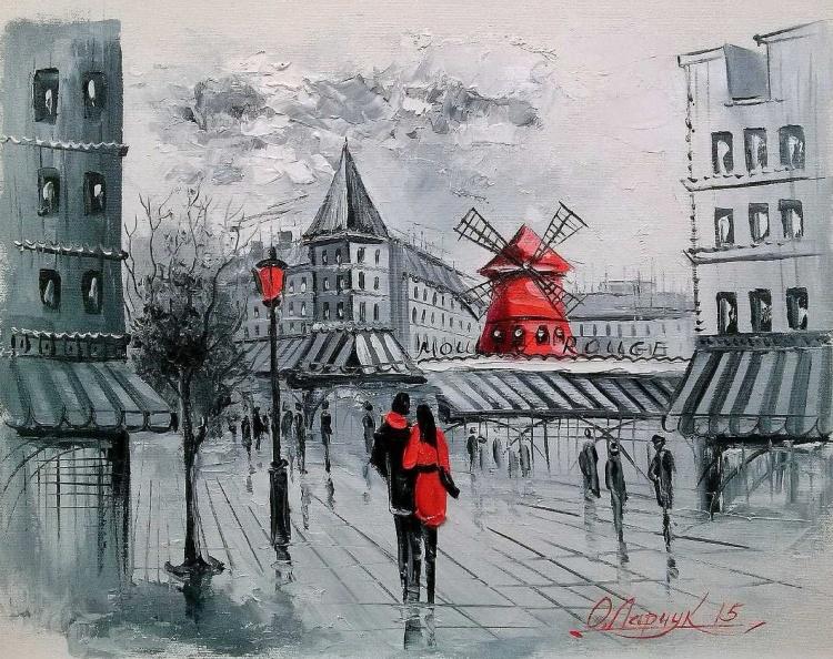 Художник Ольга Дарчук. Черно-белая любовь под красным зонтом