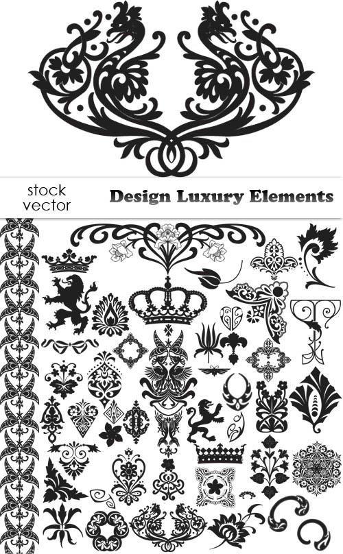 Роскошные декоративные элементы - рамки, вензеля, уголки, геральдика