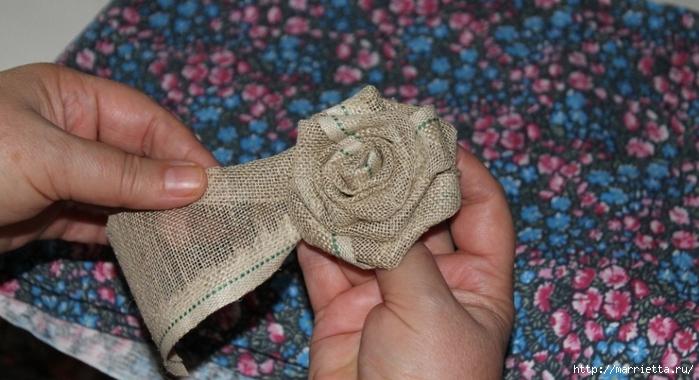 Розы из льна и мешковины. Видео и фото мастер-класс (16) (699x380, 208Kb)