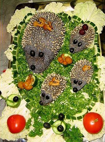 Идеи украшения салатов и паштетов.