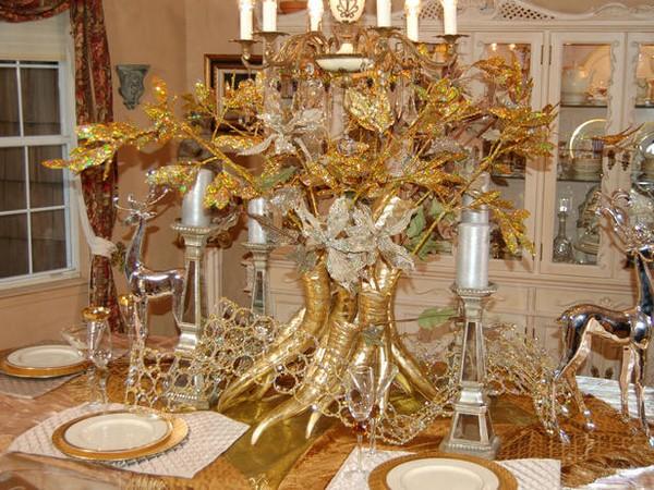 Золотая краска с блестками для новогоднего декора