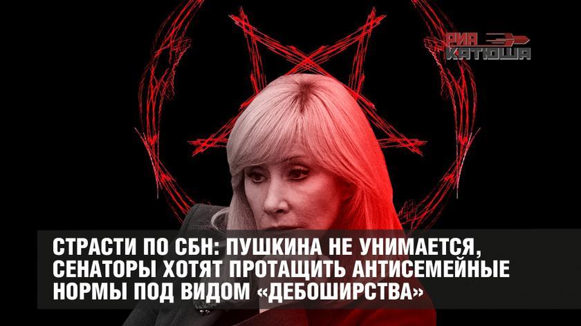 Страсти по СБН: Пушкина не унимается, сенаторы хотят протащить антисемейные нормы под видом «дебоширства»