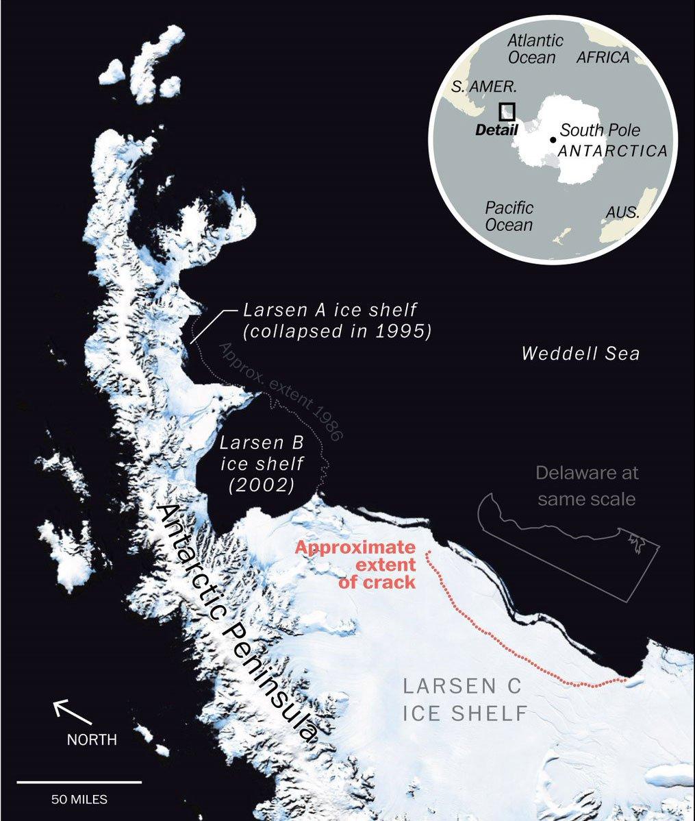 Спутники зафиксировали рождение мега-айсберга у берегов Антарктиды
