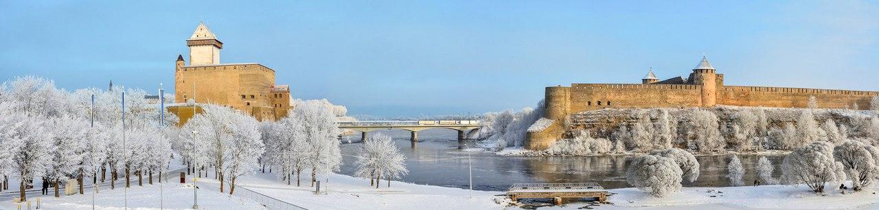 Одна из самых красивых границ в мире. Мост Дружбы соединяющий Эстонию и Россию.