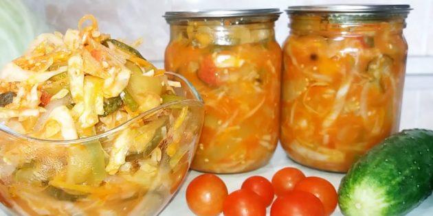 Салаты из капусты на зиму: Салат из капусты с огурцами, баклажанами, перцем и помидорами