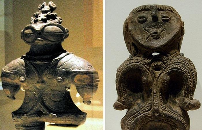 Гротескные фигурки людей и животных из глины.