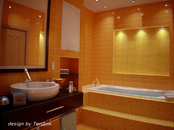 дизайн ванной в хрущевке с применением близких цветов