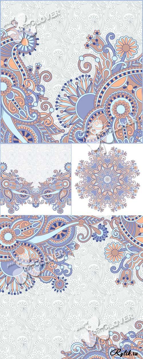 Декоративные орнаменты и узоры в векторе. Decorative ornament card