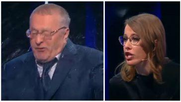 Собчак обливает водой Жириновского на национальном ТВ! Просто посмотрите на этот цирк!