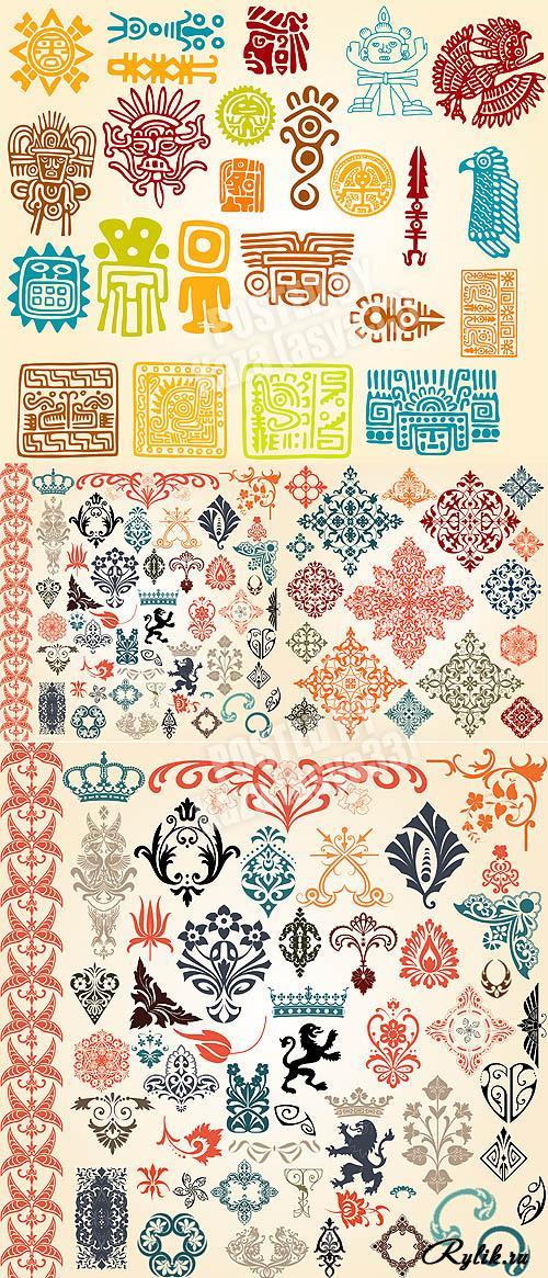 Декоративные элементы, геральдика, узоры майя - векторный клипарт