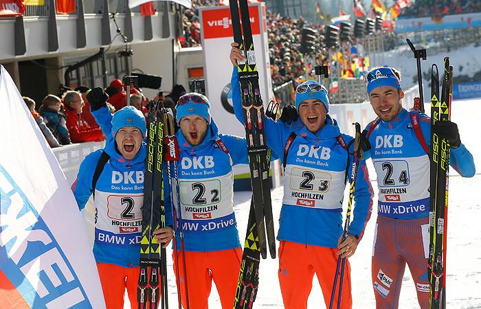 Сборная России выиграла чемпионат мира по биатлону в мужской эстафете в Австрии