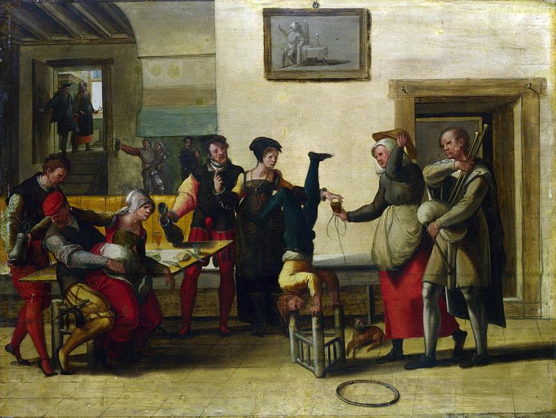 Брауншвейгский монограммист (последователь) - Бродячий артист в борделе. Национальная галерея, Часть 1