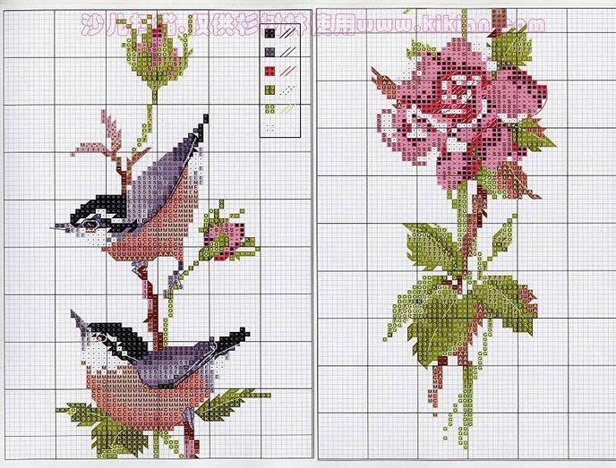 Вышивка крестом — красивые птицы и цветы в японском стиле (схемы)