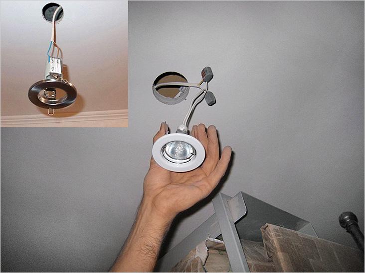 Монтаж врезных точечных светильников в подготовленное на потолке отверстие