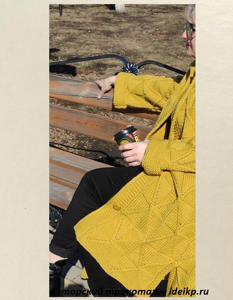 Модное вязаное пальто с ромбами + описание