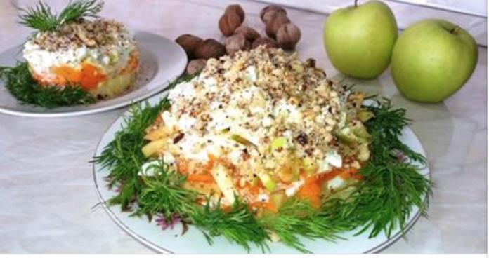 Салат «Горка» — это легкий рецепт приготовления овощного салата с орехами