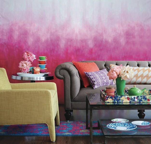 Декорирование стен размытием красок
