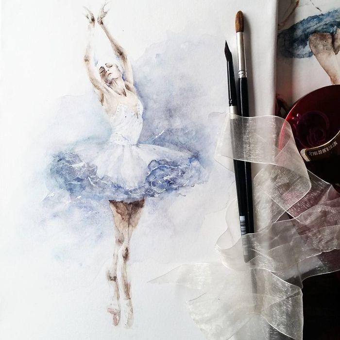 Watercolor Ballerinas By Yulia She