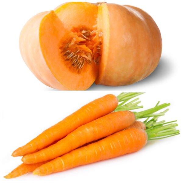 Оранжевые овощи - тыква, морковь. Богаты бета-каротином. Высокое содержание витамина А. Полезны для кожи.