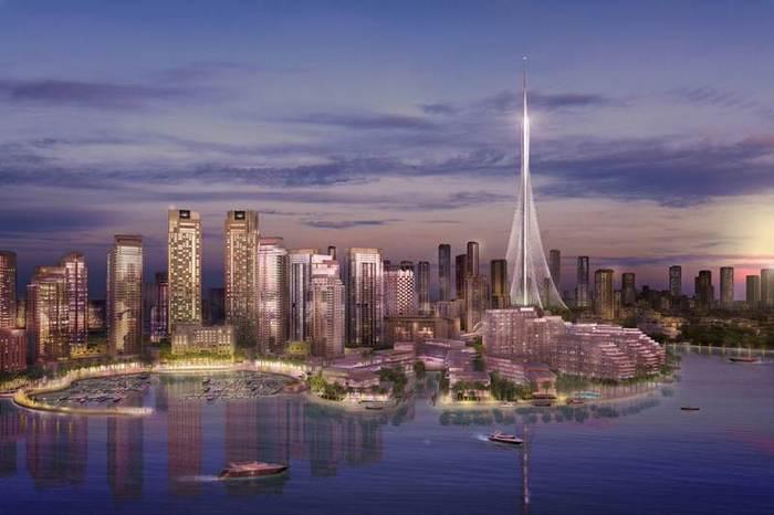 Будущий вид башни Крик Харбор в Дубае.