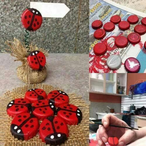 more ladybug bottle caps: