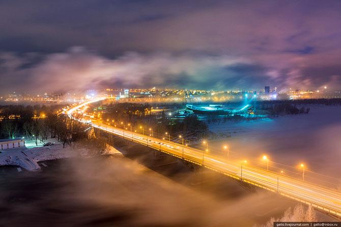 Зимний Красноярск с высоты