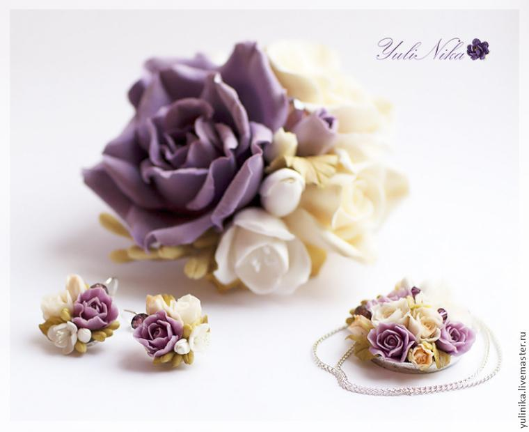 Серьги с розами и фрезией: холодный фарфор