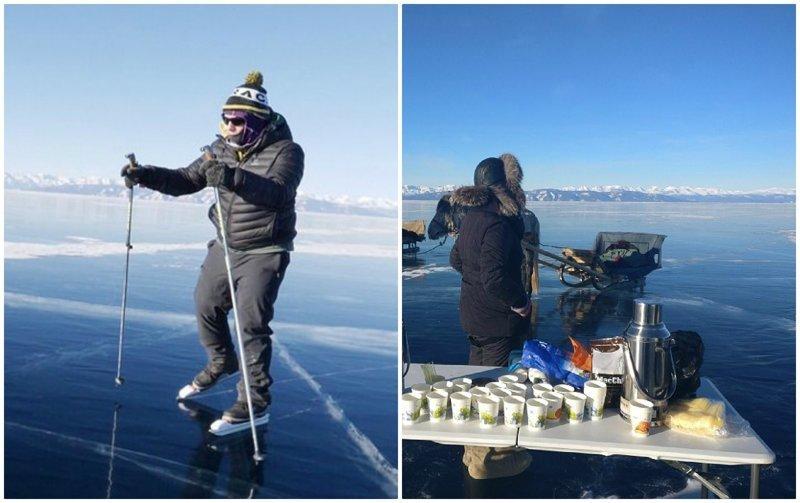 Британец пересёк 140-километровое монгольское озеро на коньках