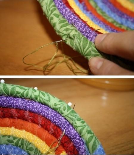 Как сделать тарелку из ткани и веревки