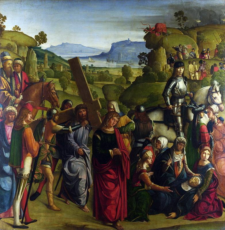 Боккаччо Боккаччино - Несение креста и обморок Девы Марии. Национальная галерея, Часть 1