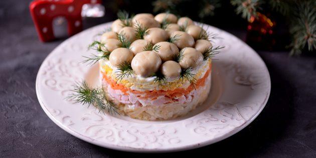 Салат с шампиньонами «Лесная поляна»