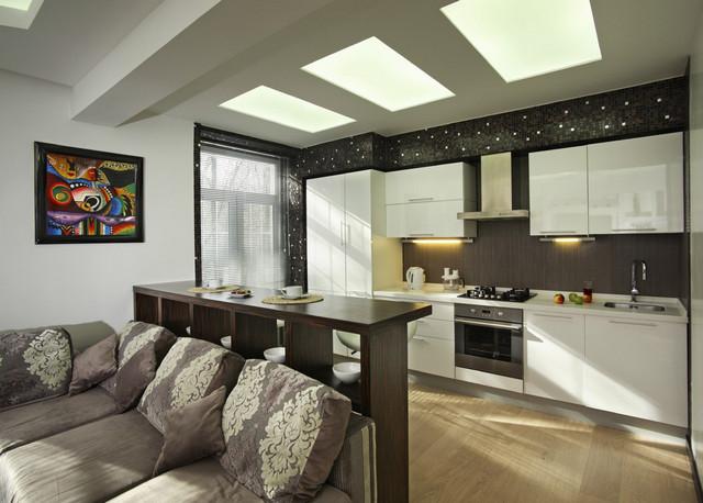 угловая кухня студия в квартире фото