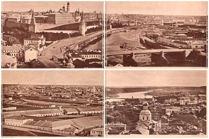 Вид на Москву 1867 года с крыши Храма Христа Спасителя и сегодня
