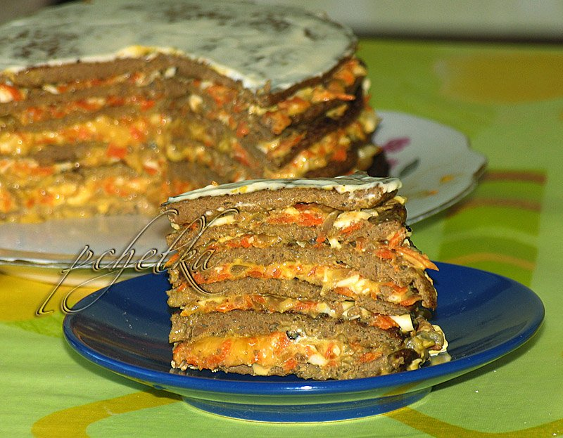 Печёночный торт без майонеза рецепт с фото пошагово
