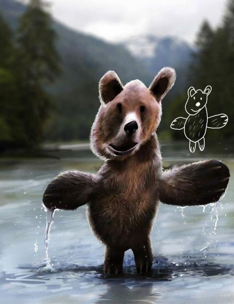 Реальные животные из детских рисунков