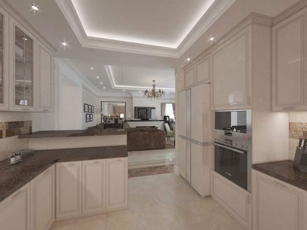 Интерьер кухни гостиной в частном доме в светлых тонах с темной столешницей